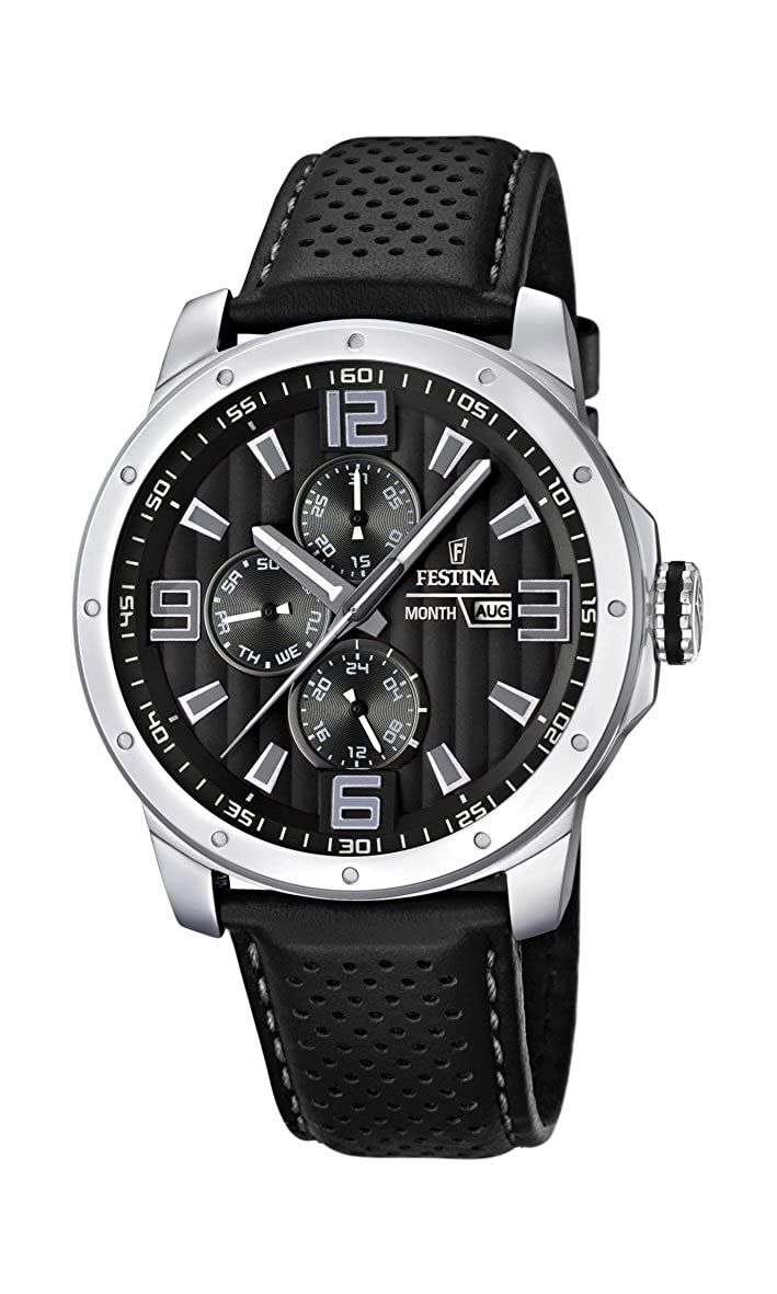 Festina F16585/4 - Reloj analógico de Cuarzo para Hombre con Correa de Piel, Color Negro