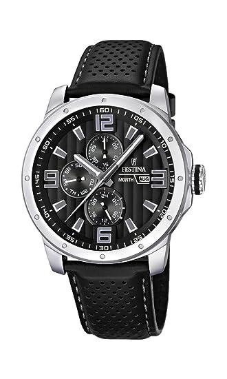 Festina F16585/4 - Reloj analógico de cuarzo para hombre con correa de piel, color negro: Festina: Amazon.es: Relojes