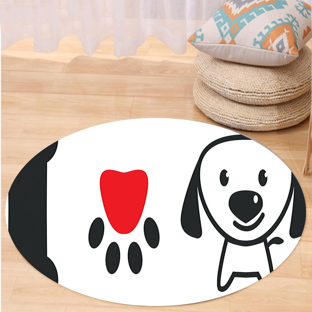 VROSELV Custom carpetDog Lover Decor Collection Bone Pup Paw with Love Symbol and Cute Doggy Sweet Message Decorative Art Bedroom Living Room Dorm Red Black Round 72 inches