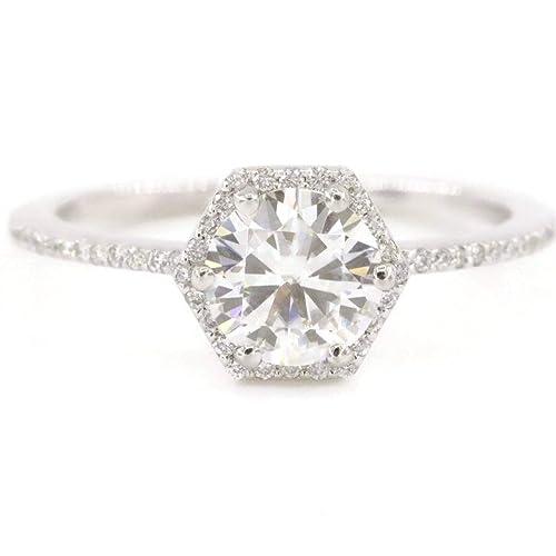 d255749978adb Amazon.com: Hexagon diamond ring with center Forever One Moissanite ...
