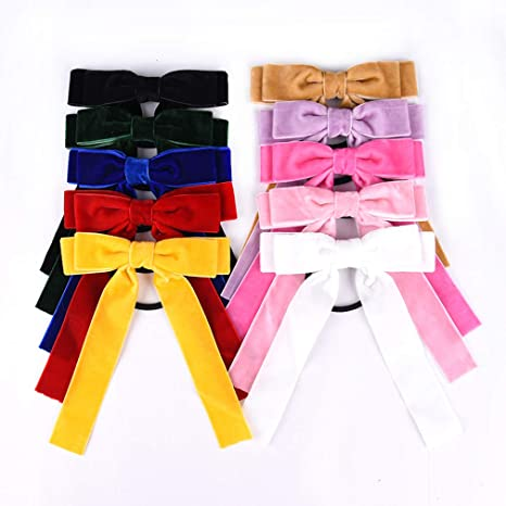 exclusive deals factory outlet performance sportswear 10Pcs Bow Hair Tie Velvet Elastics Hair Scrunchie Bobbles Hair Bands  Scrunchy Hair Rope Long Hair Bow Ponytail Holder Accessories for Women Girls