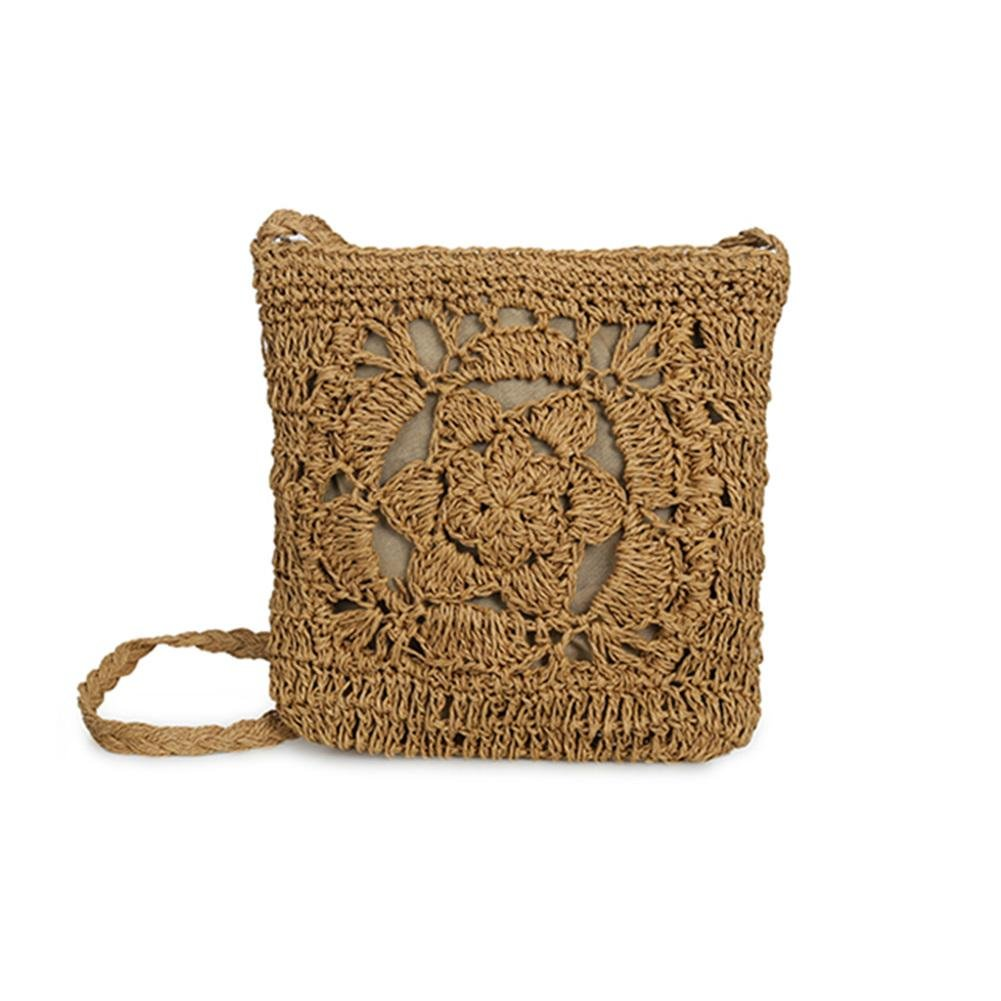 PERFECTSHOW Bolso hecho a mano del ganchillo Bolso hecho punto bolso de almacenamiento de la playa de la flor para las mujeres Bolso tejido a través del cuerpo cruzado