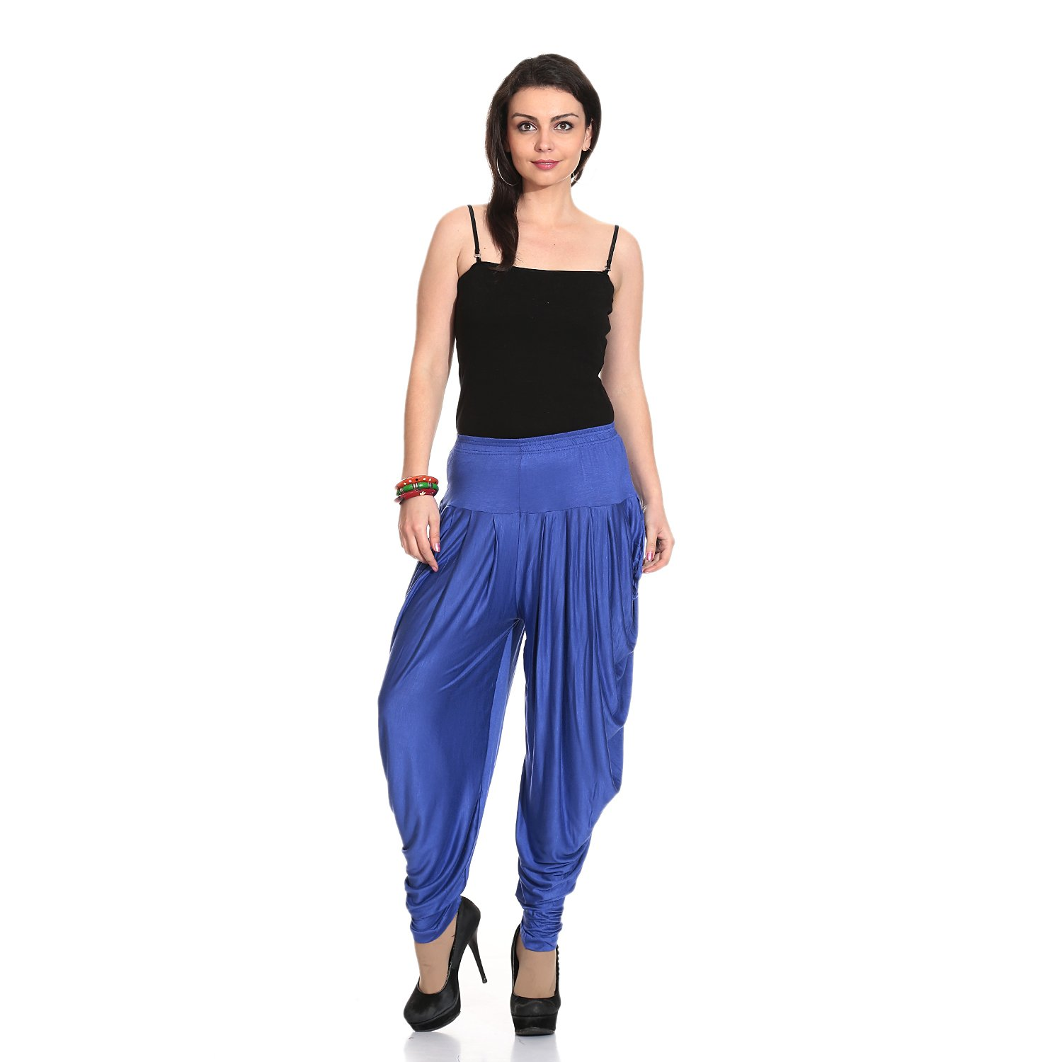 Legis Blue Relaxed Comfortable Cotton Blend Dhoti Pants Yoga Fitness Active wear Women Dance - Free Size (Blue)