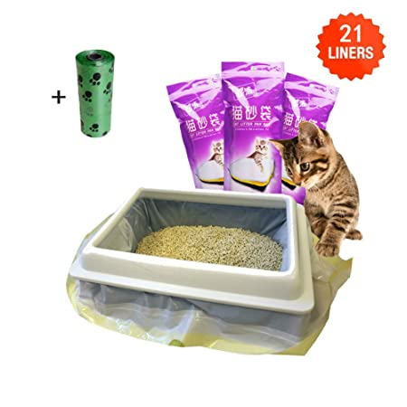 Moliwen Forro para Bandeja de Arena para Gatos con Bolsa con Cordón 3 Paquetes (21 Bolsas), 91.5 × 45.7 cm,Adecuado para Botes de Basura Medianos y ...