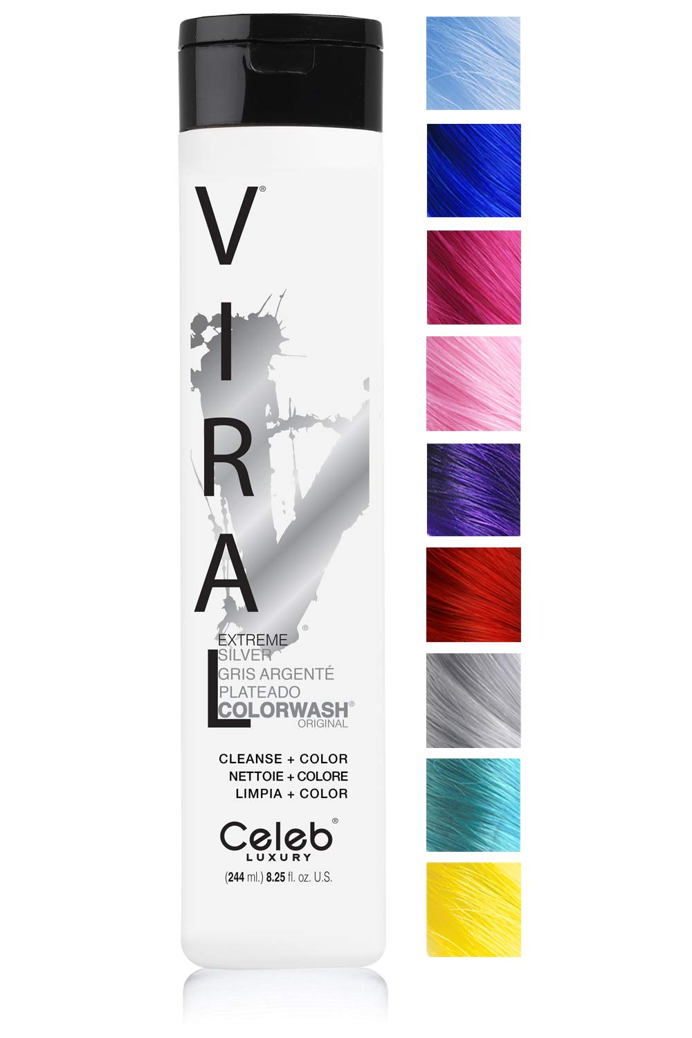 Celeb Luxury Viral Colorwash: Silver Color Depositing Shampoo Concentrate, 10 Vivid and Pastel Colors, Stops Fade, 1 Quick Wash, Cleanse + Color, Sulfate-Free, Cruelty-Free, 100% Vegan by CELEB LUXURY