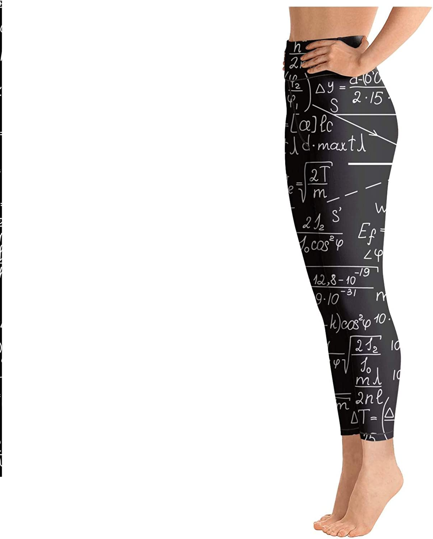 medssii Women Yoga Pants Math Equations Chemistry high Waist Yoga Leggings with Pockets