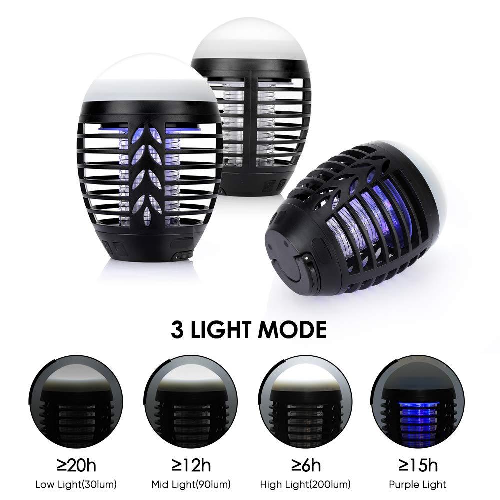 Haofy Bug Zapper LED Anti-zanzara ha Motore Potente Illuminazione Esterna Non ha Paura della Pioggia 2 in 1 Anti-zanzara e Tenda da Campeggio IP67 Antipioggia Sicuro Ricarica USB Non tossico