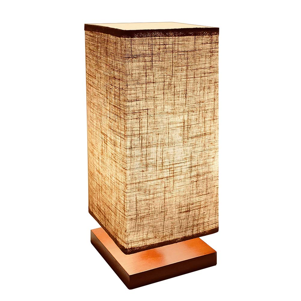 GLORIOUS-LITE Bedside Table Lamp, Nightstand Lamp, Simple Desk Lamp, Square Flaxen Lamp Shade with E26 Base, Minimalist Solid Wood Table Lamp for Living Room, Bedroom, Kids Room, Dorm, Coffee Table
