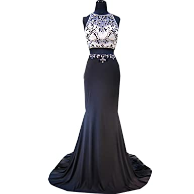 dressvip Round Neck Sleeveless Sweep Strain Black Satin Rhinestones Two Pieces Prom Dresses (UK8)