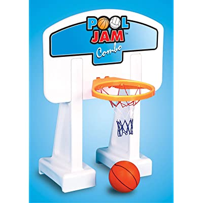 White Pool Jam Basketball and Volleyball Swimming Pool Water Sports Combo Game: Toys & Games