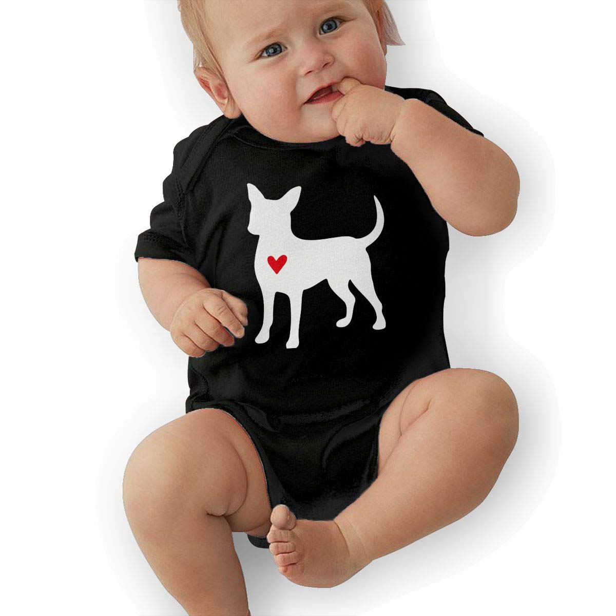Mri-le2 Toddler Baby Boy Girl Short Sleeve Jumper Bodysuit Chihuahua Dog Heart-1 Toddler Clothes