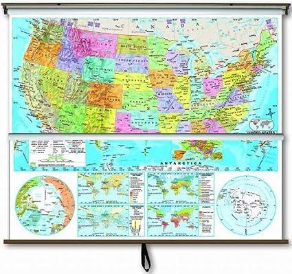 Amazon.com : Advanced Political Map Combo - U.S. / World with ...
