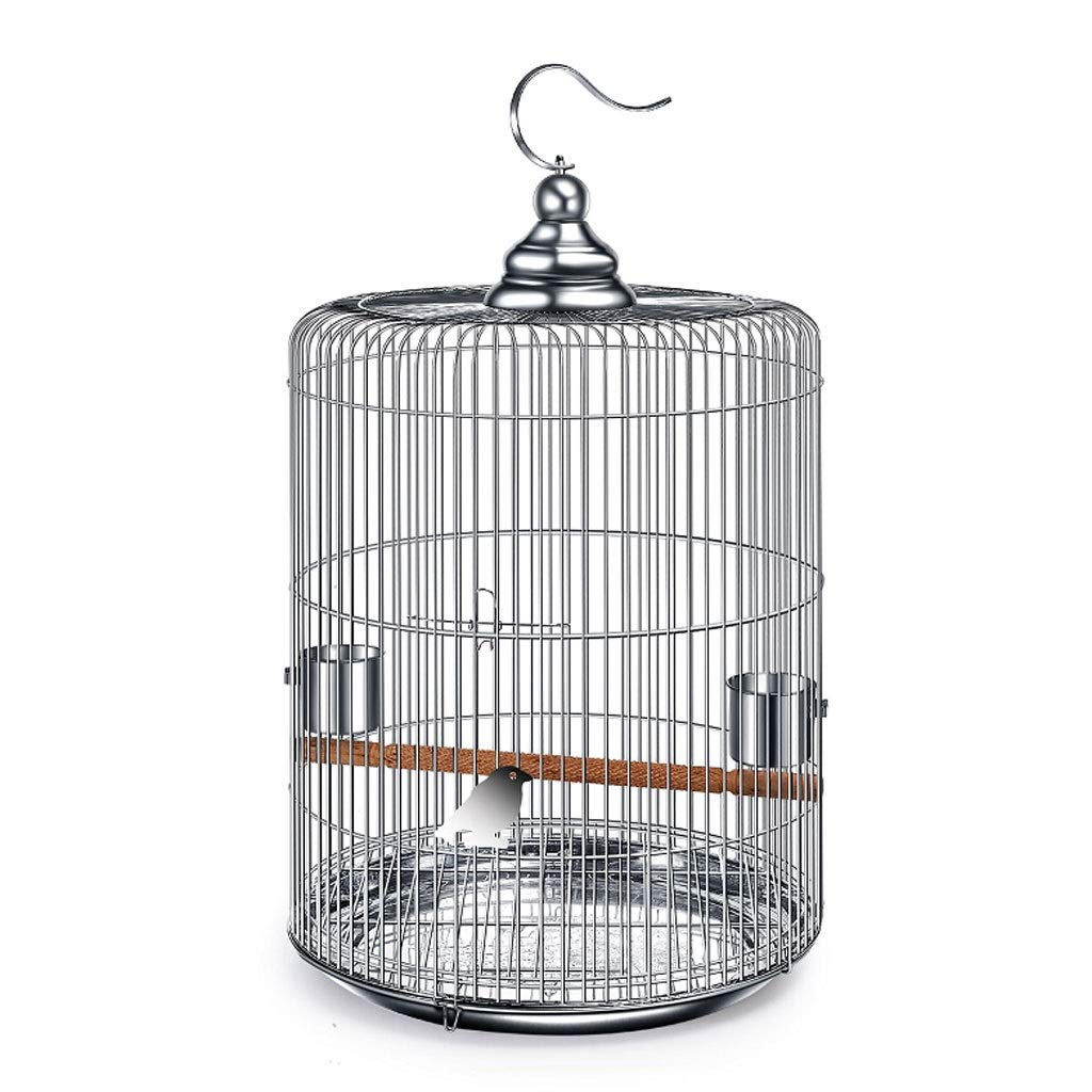 S Xilinshop-Birdhouses Stainless Steel Bird Cage Large With Metal Hooks Can Be Hung in The Outdoor Bird Villa Round Bird Cage 6 Size Options (Size   S)