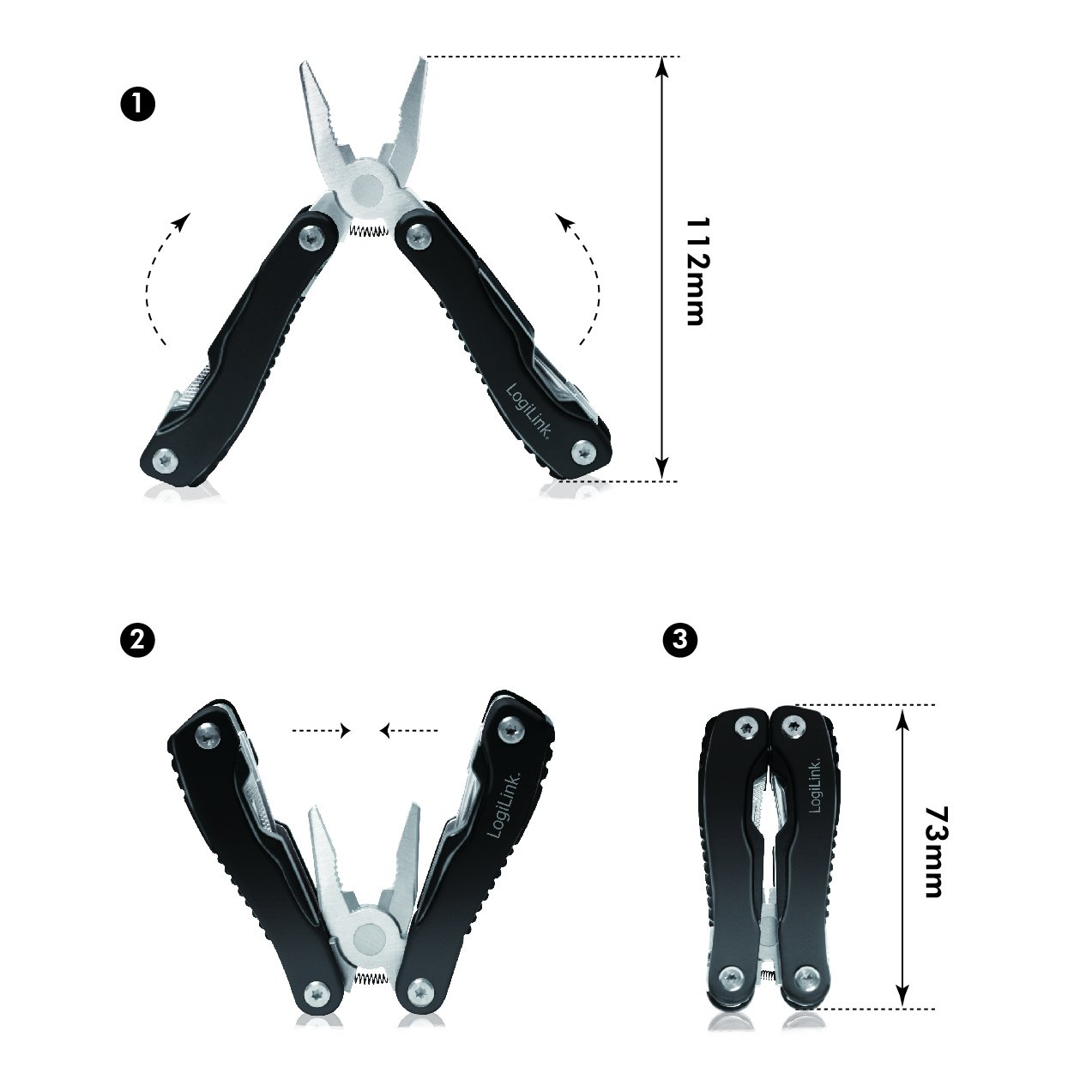 multifunktionales /Überlebenswerkzeug- Zange im Taschenformat Ideal bei Autofahrten und Outdoor-Abenteuern LogiLink WZ0044 11 in 1 Multitool Schwarz//Silber