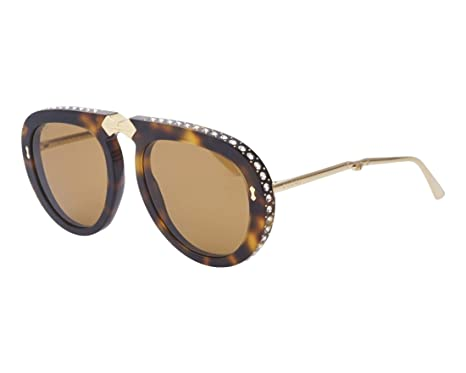 4097dd28761 Image Unavailable. Image not available for. Color  Gucci GG 0307S 003  Foldable Havana Plastic Aviator Sunglasses Brown Lens