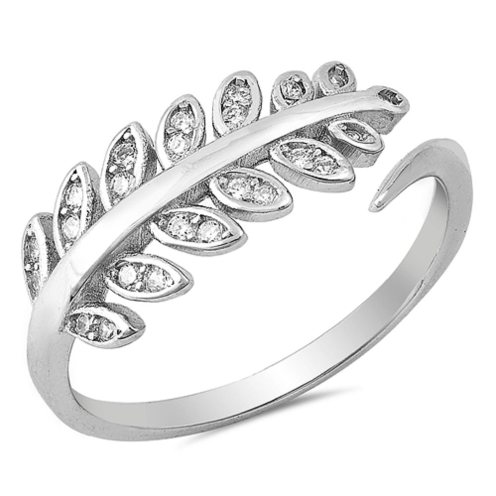 CloseoutWarehouse Cubic Zirconia Fern Leaves Ring Sterling Silver Size 9