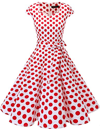 DRESSTELLS Retro 1950s Cocktail Dresses Vintage Swing Dress with Cap-Sleeves White Red Dot M (White Dot Dress)