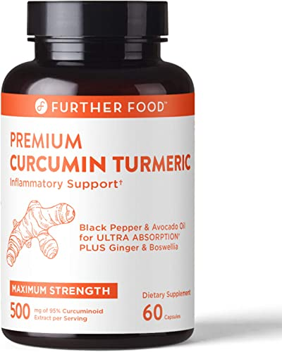 Premium Curcumin Turmeric Highest Potency 95 Curcumin Extract, Full-Spectrum Organic Turmeric Black Pepper Avocado Oil for Absorption Boswellia Ginger, 60 Vegan Capsules, 2-mo Supply, 500mg