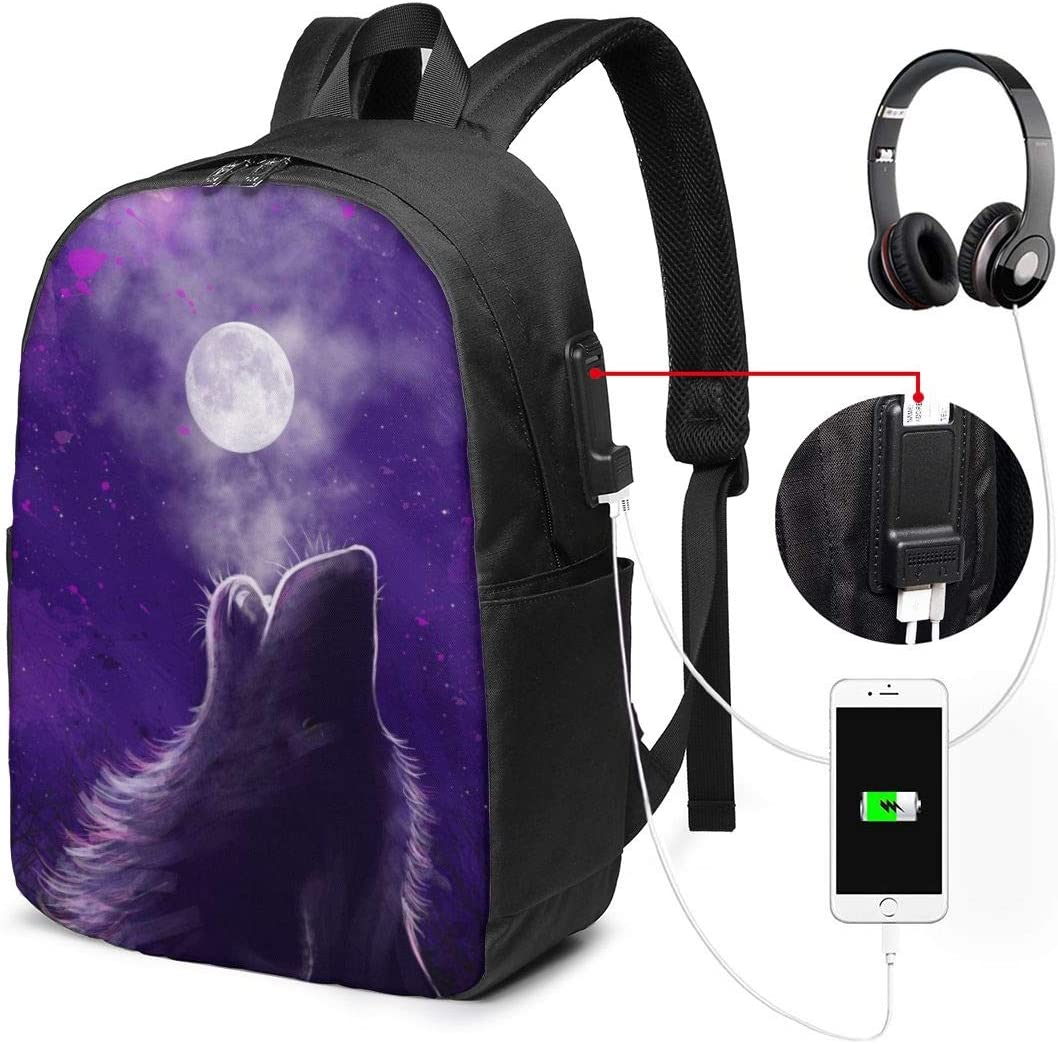Howling Wolf Galaxy Unisex 17 Inch Computers Backpack for Teenager Travel Bag with USB Charging Port Unisex School Durable Notebook Bag
