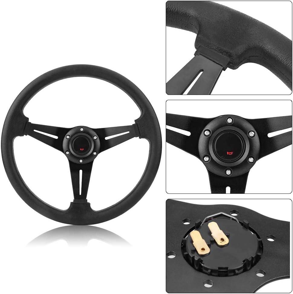14inch 350mm Universal Steering Wheel Aluminum Frame PU Leather 6-Bolt Car Racing Steering Wheel Red