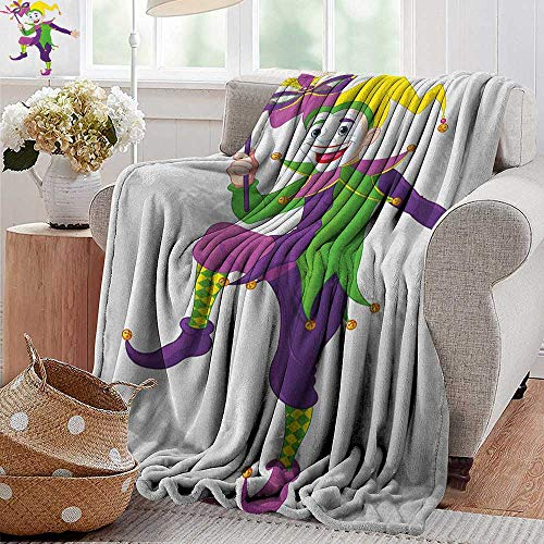 XavieraDoherty Wearable Blanket,Mardi Gras,Cartoon Style Jester in Iconic Costume with Mask Happy Dancing Party Figure, Multicolor,300GSM, Super Soft and Warm, Durable 50