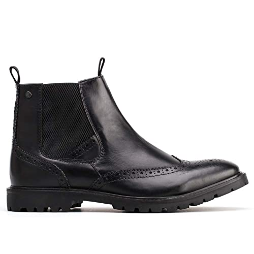 62ff9705202 Base London Bosworth Mens Leather Chelsea Boots Waxy Black: Amazon ...