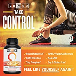 Thyroid Support Complex With Iodine - Energy, Metabolism & Focus Formula - Vegetarian, Soy & Gluten Free - \'Feel Like Your Old Self Again\'