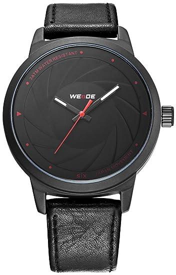 2018 nuevo reloj de hombre piel, mimbre Hombre Reloj de pulsera Negro