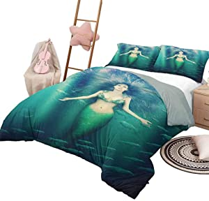Mermaid Quilt 3 Piece Bedding Set Bedding 3-Piece Twin Bed Sheets Set, Fairytale Mermaid with Fish in Sunbeams Sun Rays Magical Underwater World Soft Bedding Green Aqua Purple