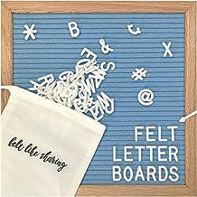 Light Blue Felt Letter Board 10x10 Inches. Changeable Letter Boards Include 300 White Plastic Letters & Oak Frame.