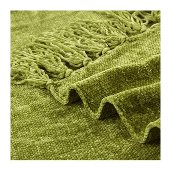 Freshmint Christmas Throw Blanket 60 x 50 Inch Thanksgiving Luxury Fluffy Chenille Knitted Blankets with Decorative Fringe and Striped for Home Decor Couch Cover Sofa Bed Gift, Green - ULTRA-SOFT PLUSH CHENILLE - This Fluffy Throw Blanket with fringes is made of 100% soft gentle chenille It's incredibly soft, wrinkle and fade resistant, doesn't shed, and is suitable for all seasons. PERFECT THANKSGIVING GIFT CHOICE- This throw blanket makes a great gift for your mom, wife, sister, grandmother or anyone else you think might need it. Perfect for birthdays, Christmas, housewarming and much more. VERSATILE USAGE - This blanket can be used for many things such as; cover for your couch, in the bed, outside in the patio on a cool summer evening, beach or even if you go camping or hiking. Its lightweight and very easy to bring with you - blankets-throws, bedroom-sheets-comforters, bedroom - 61aYDW8b rL. SS570  -