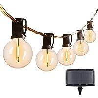 29Feet Solar String Lights Outdoor G40 Patio Lights with 25 LED Shatterproof Bulbs, 4 Light Modes, Weatherproof Hanging…