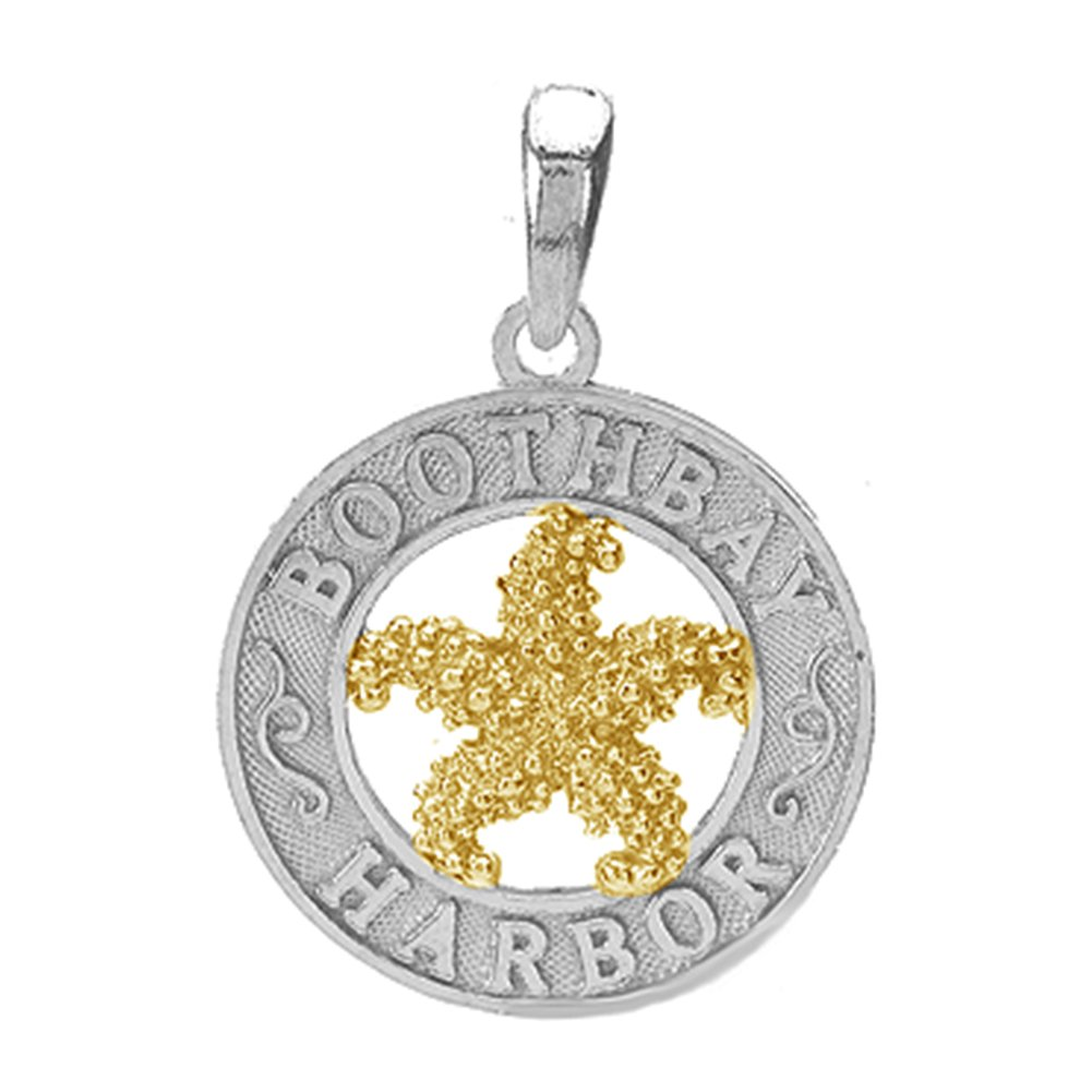 925 Sterling Silver Travel Charm Pendant, Boothbay Harbor, On Round, 14k Gold Starfish Center by Million Charms