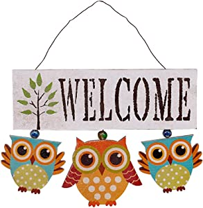YK Decor Wooden Owl Welcome Door Sign Decorative Hanging Welcome Sign for Front Door Home Decor 6.8X 8.8 x 0.25 inches (White)