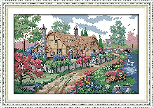 Joy Sunday Cross Stitch Kits, Country Cabin Pattern Cross-Stitch Stamped kit,Embroidery Set 11CT 22''x15''