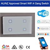 AU/NZ Standard Smart WiFi 4 Gang Light Switch for Normal Lights Home Automation and Alexa Voice Control