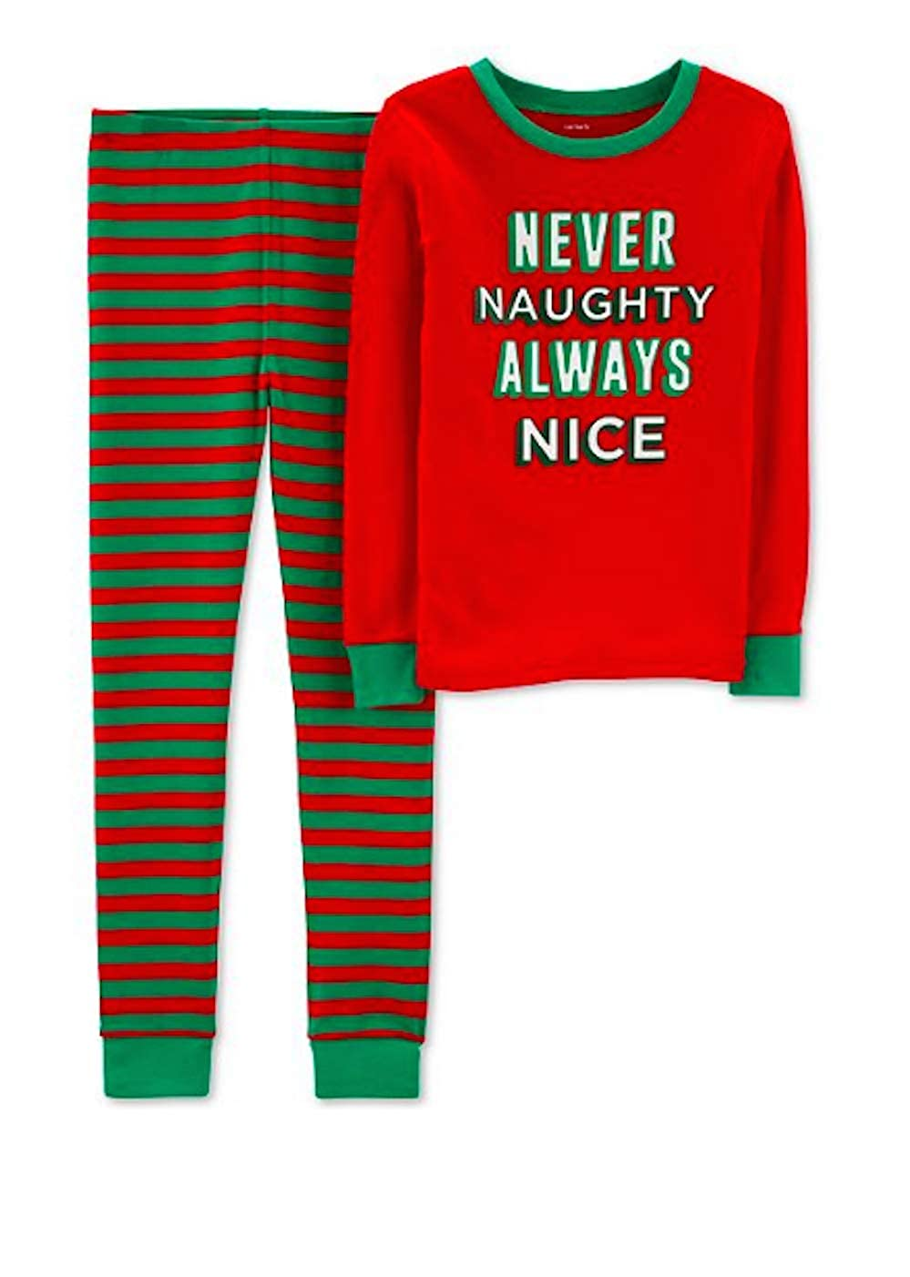 Carters 2-Piece Boys Christmas Snug Fit Cotton PJs Never Naughty Always Nice