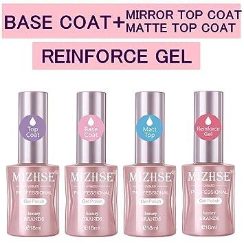 Mizhse Base And Top Coat Gel Nail Polish Matte Nail Polish Reinforce Gel Varnish Large Professional Nail