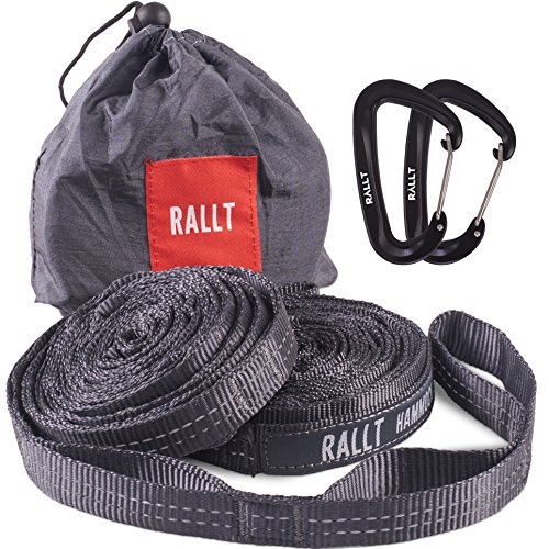 Rallt Hammock Tree Straps - 2000+ LB Breaking Strength, 20 Feet Long, 36 Loops. 2 Carabiners, 100% No Stretch Polyester Adjustable Suspension Straps Like Python and ENO Atlas Straps by Rallt