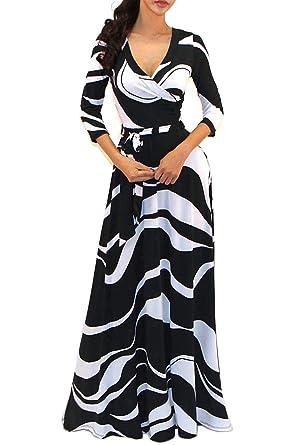 f80df9e957e Vivicastle Women s V-Neck 3 4 Sleeve Faux Wrap Waist Tie Printed Long Maxi