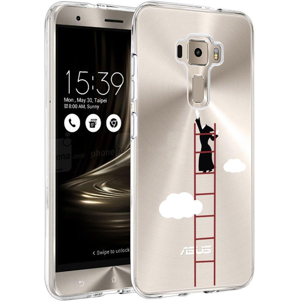 WenJie Ragazza Farfalla Silicone Sottile Back Case Molle di TPU Trasparente per Asus Zenfone 3 ZE520KL 5.2 Asus Zenfone 3 ZE520KL Custodia Cover