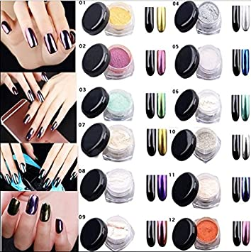 Amazon 12 pack chrome mirror nail powder with smooth shimmer 12 pack chrome mirror nail powder with smooth shimmer shining glitter effect pigment for nail art prinsesfo Image collections