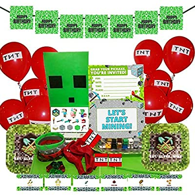 Merchant Medley Minecraft-Inspired Birthday Party Bundle for 10 Guests! - Includes Plates, Napkins, Invitations, Balloons, Tablecloth, Banner and Tons of Party Favors!