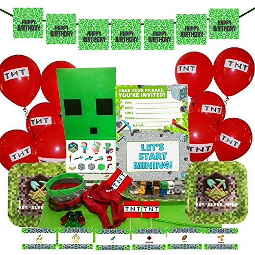 Merchant Medley Minecraft-Inspired Birthday Party Bundle for 10 Guests! - Includes Plates, Napkins, Invitations, Balloons, Tablecloth, Banner and Tons of Party Favors!]()