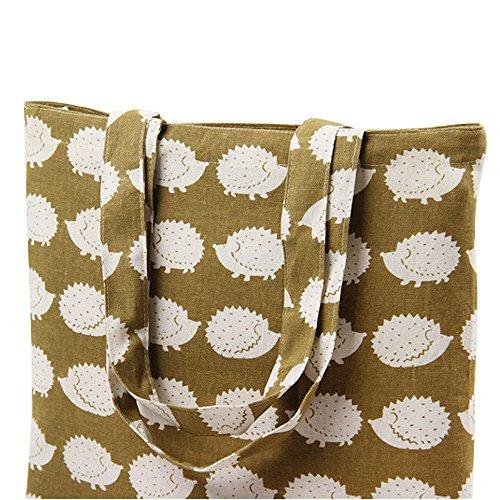 e5398e850 Flowertree Women's Cute Animal Print Canvas Tote Bag (L245-Hedgehog/Open).  Open closure-506-black White Stripe/Open