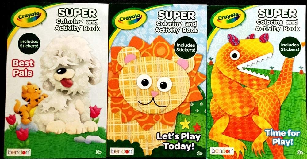 Amazon Com Crayola Super Coloring And Activity Book With Stickers 3 Pack Set Office Products