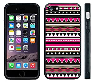 Apple iPhone 6 Black Rubber Silicone Case - Pink Aztec Black White Pattern Print Indian Tribal Style by runtopwell