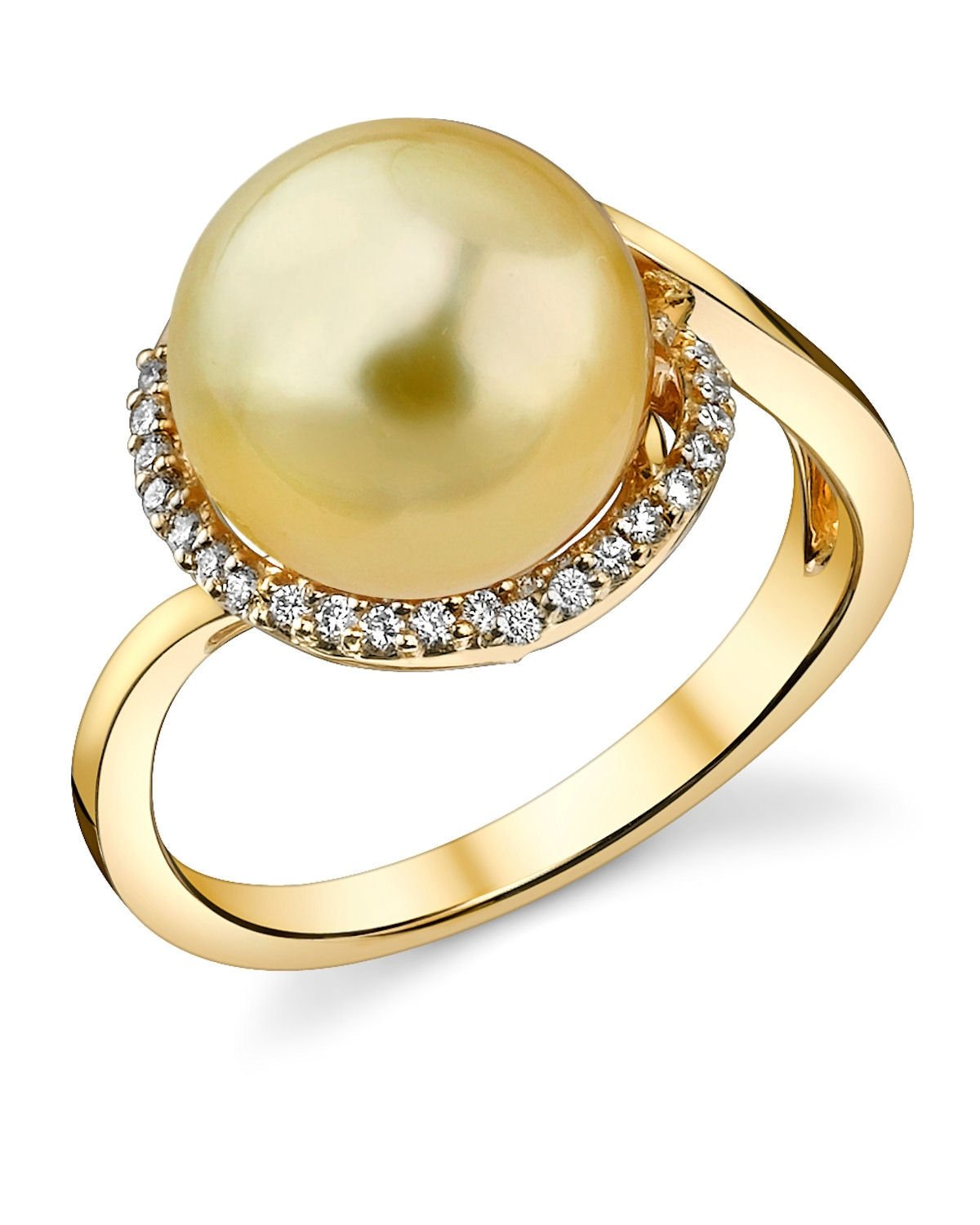 10mm Golden South Sea Cultured Pearl & Diamond Summer Ring in 18K Gold