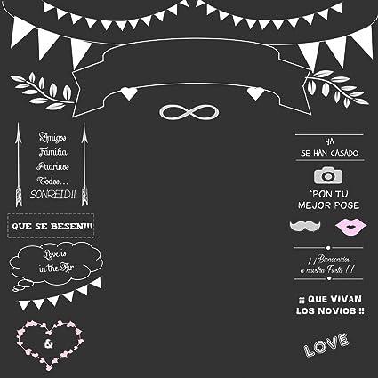 Telón de fondo para fotografía de fotos de pizarra nombre FECHA personalizable pizarra boda fiesta fondos cabina Shoot Imagen 5 x 5 ft