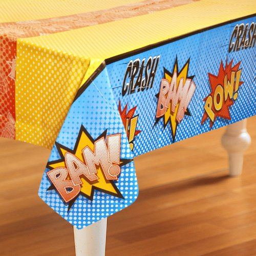 Creative Converting Superhero Comics Party Supplies - Plastic Table Cover